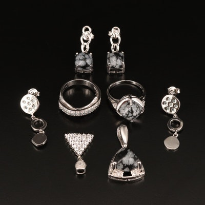 Sterling Jewelry Including Topaz, Zircon and Snowflake Obsidian