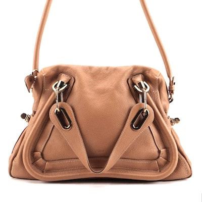 Chloé Paraty Medium Two-Way Satchel in Tan Leather