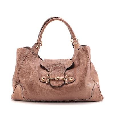 Gucci Pelham Horsebit Shoulder Bag in Brown Calfskin Grained Leather