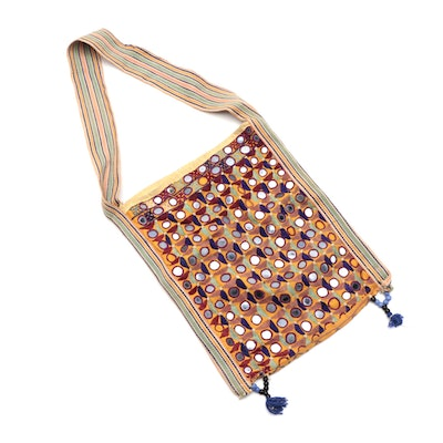 Woven Textile Shoulder Bag with Mirror and Beaded Embellishments
