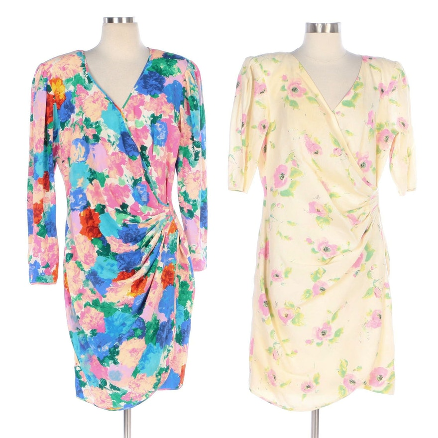 Emanuel Ungaro Floral Ruched Wrap Style Dresses