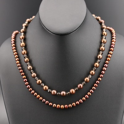 Smoky Quartz and Pearl Bead Necklace with 14K Clasp and Endless Pearl Necklace