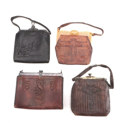 Art Nouveau Bosca Built and Other Tooled Leather Frame Bags
