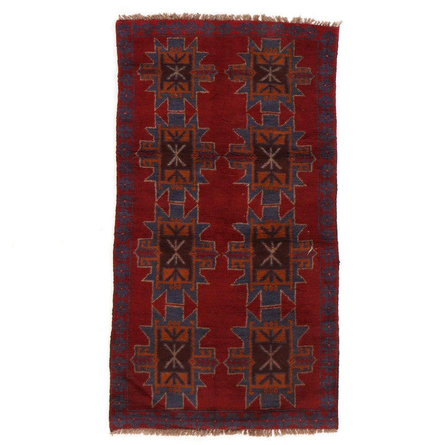 3'1 x 6'2 Hand-Knotted Afghan Baluch Geometric Area Rug