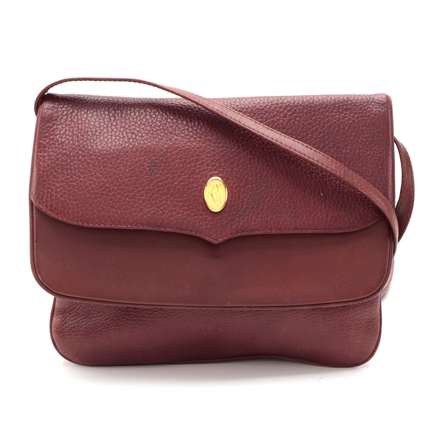 Cartier Flap Front Burgundy Grained and Smooth Leather Crossbody Bag