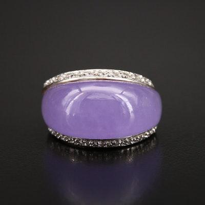 9K Jadeite and Diamond Dome Ring