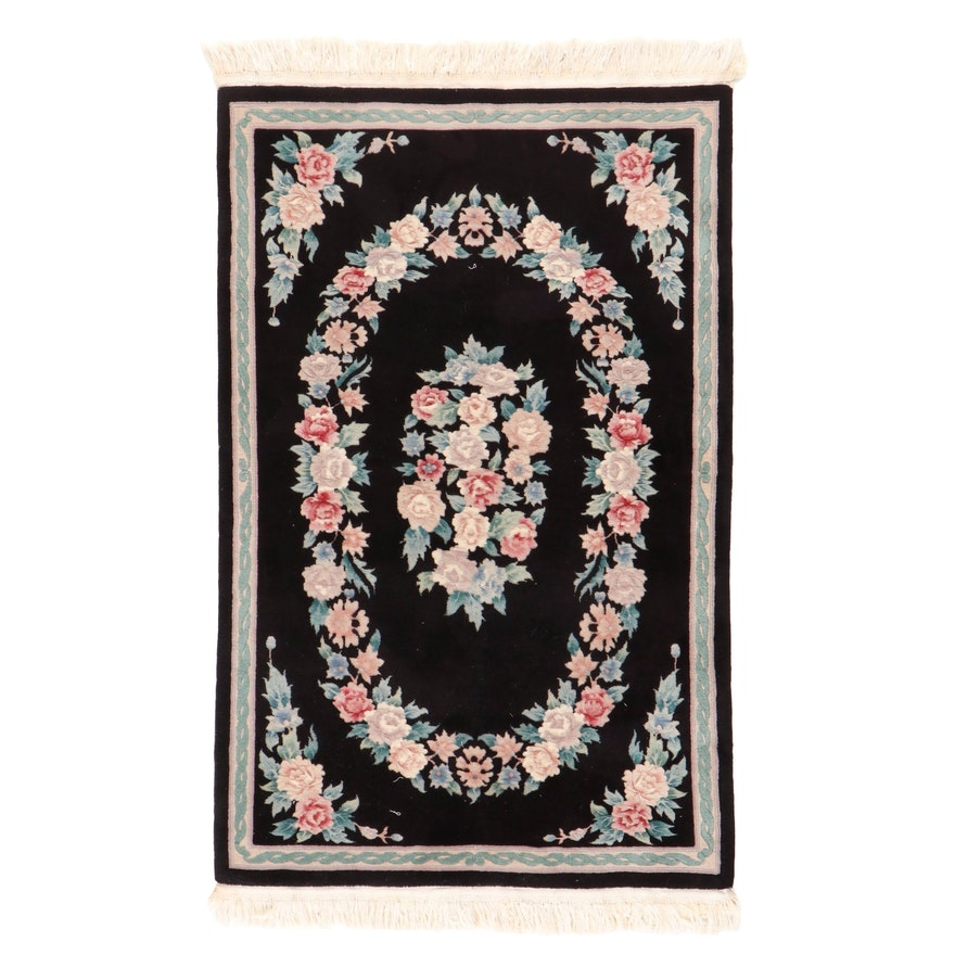 3'8 x 6'5 Hand-Knotted Chinese Floral Carved Pile Area Rug