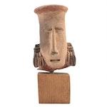 Jalisco Hollow Hand-Built Ceramic Head, Pre-Columbian Mexico