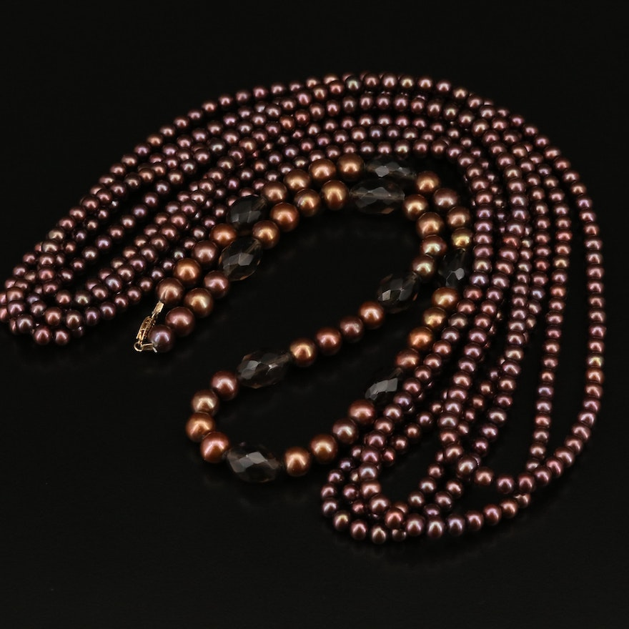 Smoky Quartz, Pearl Necklace with 14K Clasp and Endless Pearl Rope Necklace