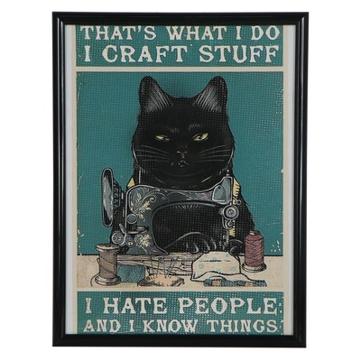Contemporary Giclée of Black Cat Sewing, 21st Century
