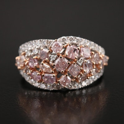 18K 2.17 CTW Diamond Cluster Ring with GIA Report