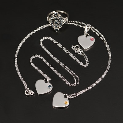 Sterling Necklace, Pendant and Ring Including Sapphire, Tourmaline and Citrine