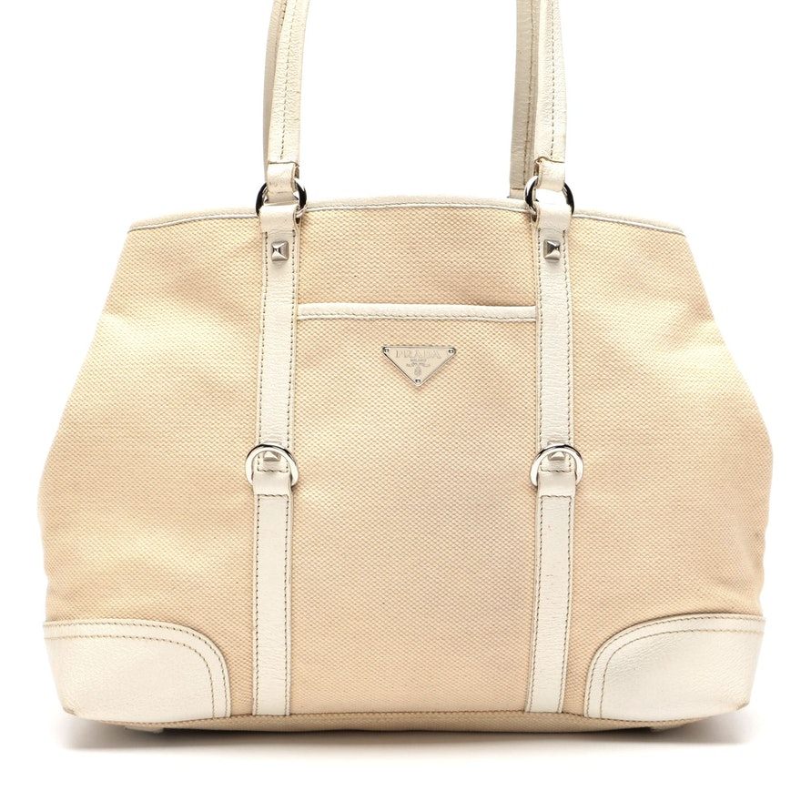 Prada Woven Canvas and White Leather Tote Bag