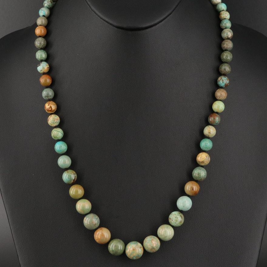 Turquoise Graduated Bead Necklace with Sterling Clasp