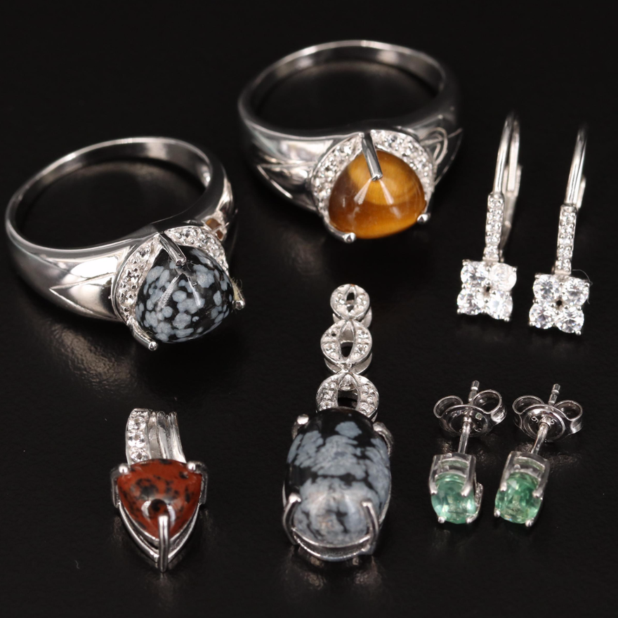 Sterling Jewelry Including Tiger's Eye, Mahogany and Snowflake Obsidian