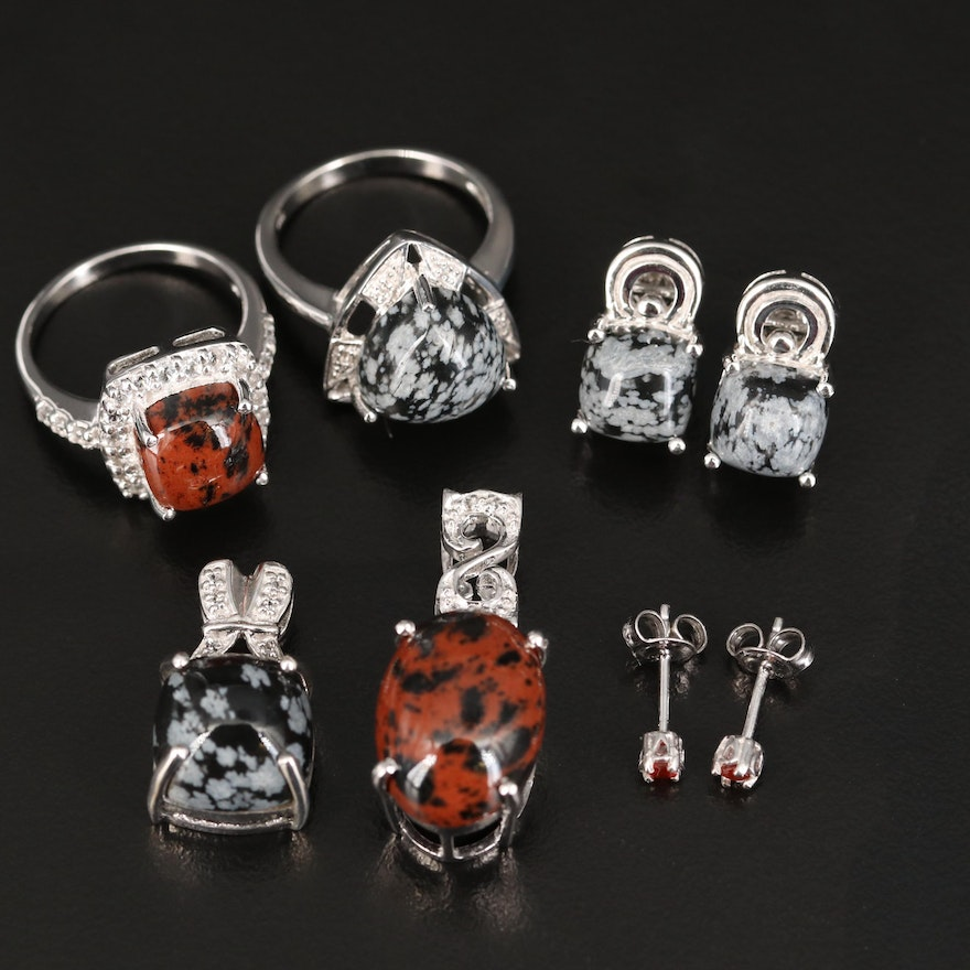 Sterling Jewelry Including Topaz, Mahogany and Snowflake Obsidian