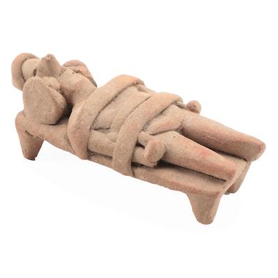 Pre-Columbian Colima Ceramic Bed Figure, Western Mexico
