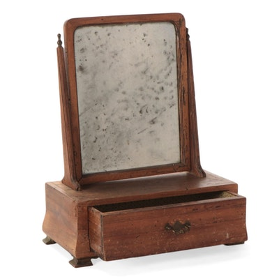 American Chippendale Wormy Walnut Shaving Mirror, Late 18th/ Early 19th Century