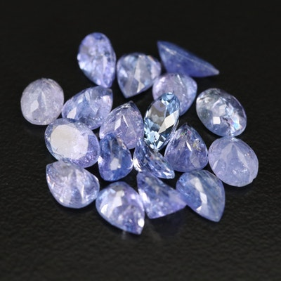 Loose 14.12 CTW Pear and Oval Faceted Tanzanite