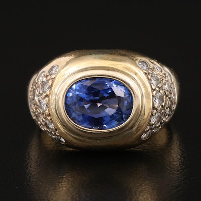 18K 2.80 CT Sapphire and Diamond East-West Ring