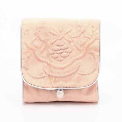 Soft Travel Case in Peach and Light Blue with Hand-Stitched Details