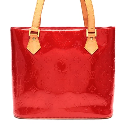 Louis Vuitton Houston Tote in Red Monogram Vernis and Vachetta Leather