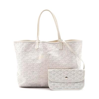 Goyard St. Louis Tote Bag with Detachable Pochette in White Goyardine Print