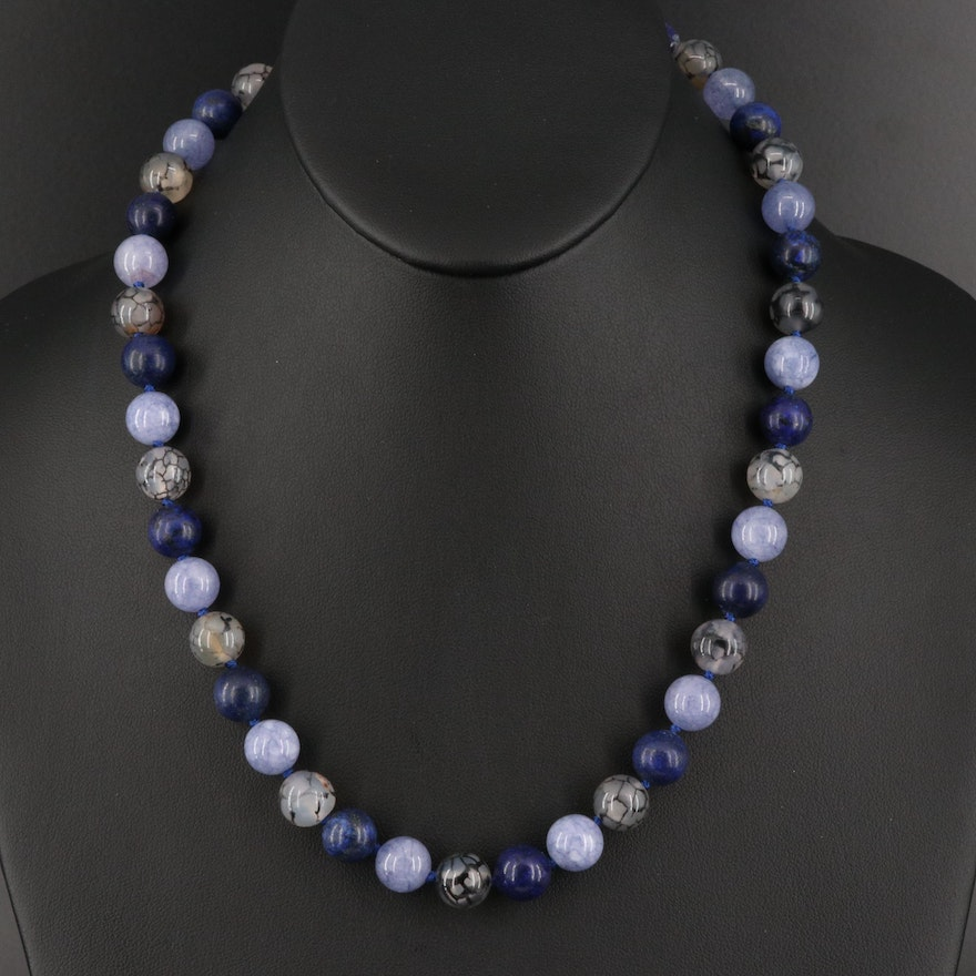 Agate, Lapis Lazuli and Quartz Bead Necklace with Sterling Clasp