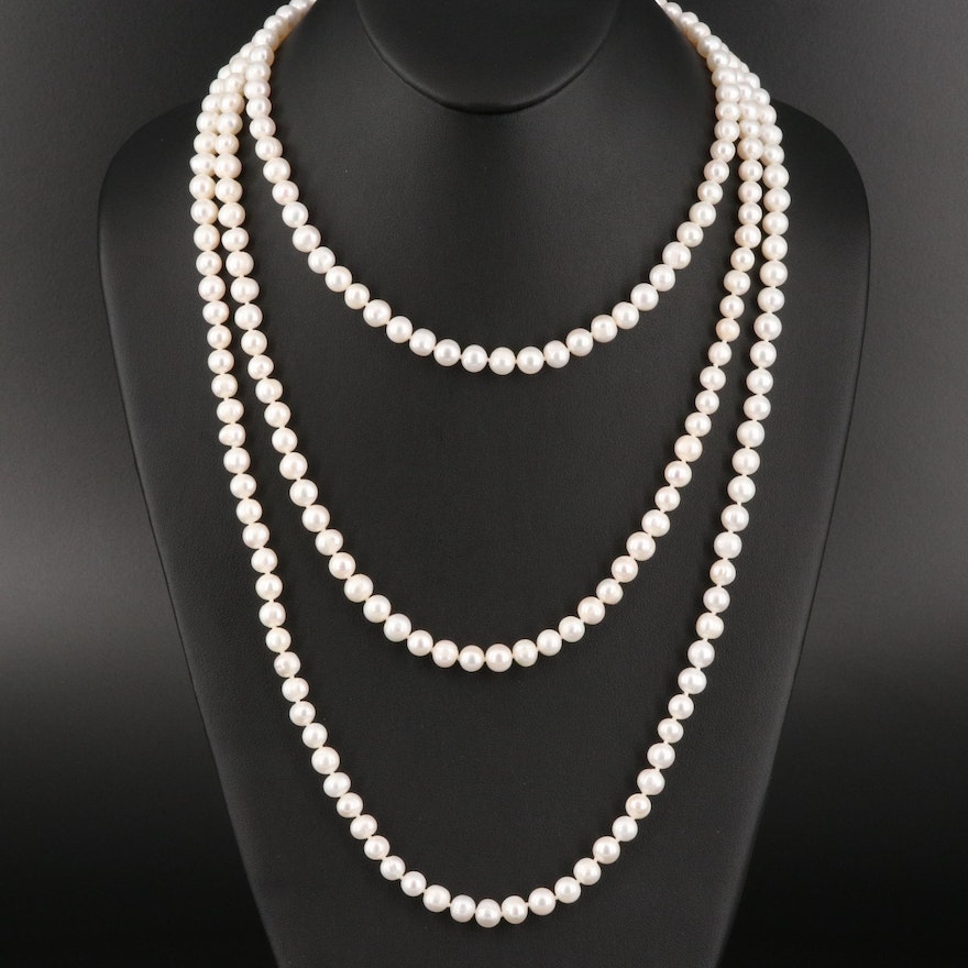 Continuous Rope Length Pearl Necklace