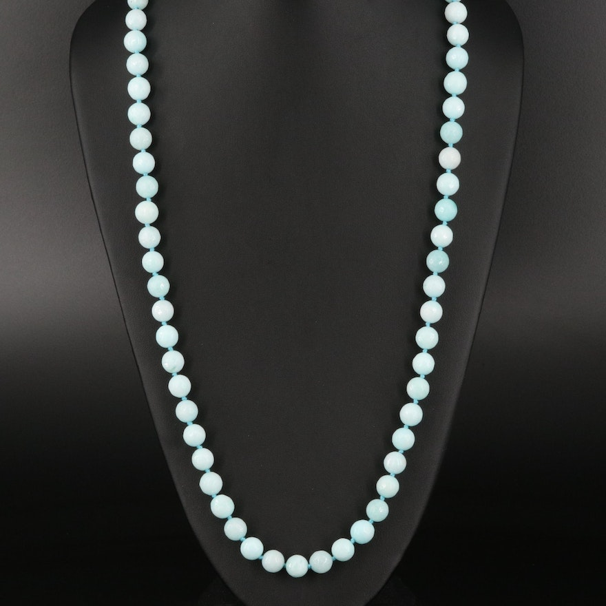 Amazonite Bead Necklace with Sterling Clasp