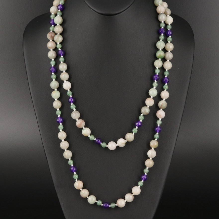 Aventurine and Quartz Bead Necklace with Sterling Silver Clasp