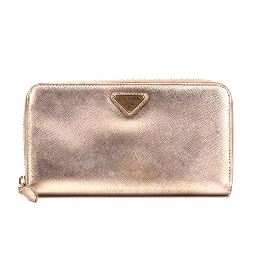 Prada Zip Wallet in Gold Metallic Saffiano Leather