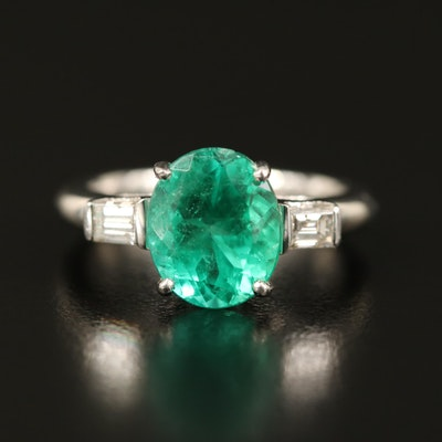 Platinum 2.91 CT Emerald and Diamond Ring with GIA Report