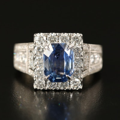 14K 3.04 CT Sapphire and 2.33 CTW Diamond Halo Ring with GIA Report