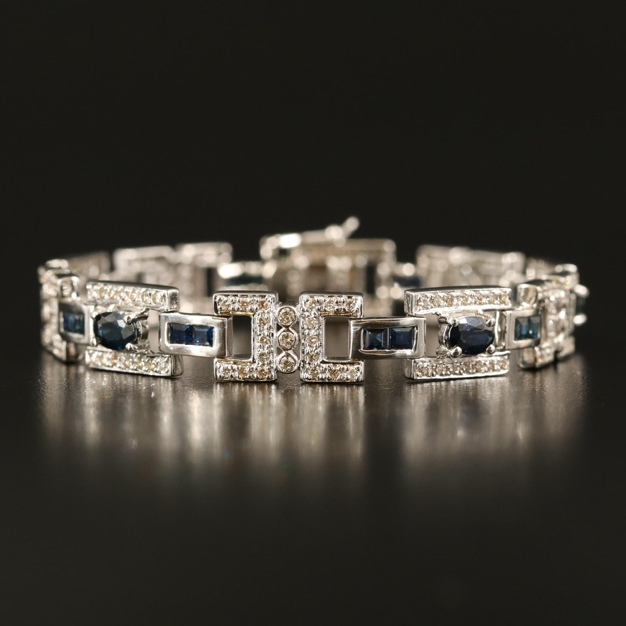 14K Sapphire and 2.08 CTW Diamond Bracelet