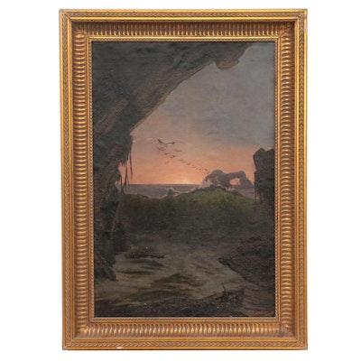 Thomas Alexander Harrison Coastal Landscape Oil Painting of Sunset