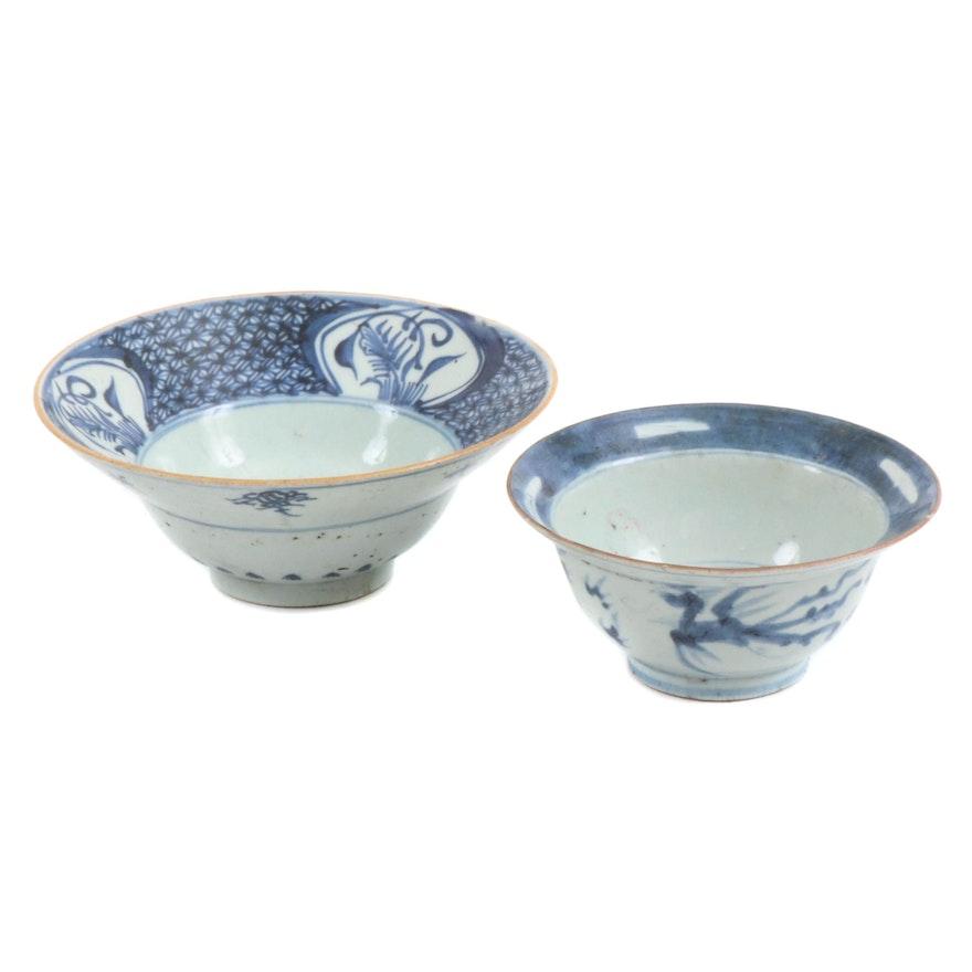 Chinese Kangxi Style Blue and White Ceramic Rice Bowls