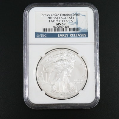 """NGC Graded MS69 """"Early Releases"""" 2013(S) $1 American Silver Eagle"""
