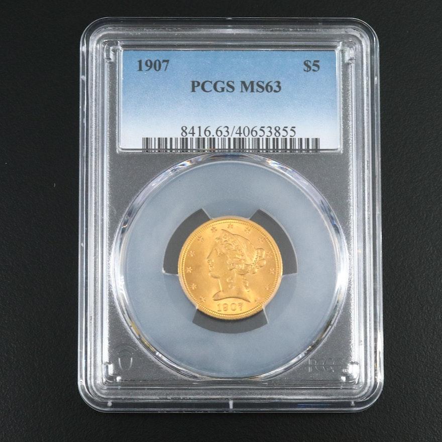 PCGS Graded MS63 1907 Liberty Head $5 Half Eagle Gold Coin