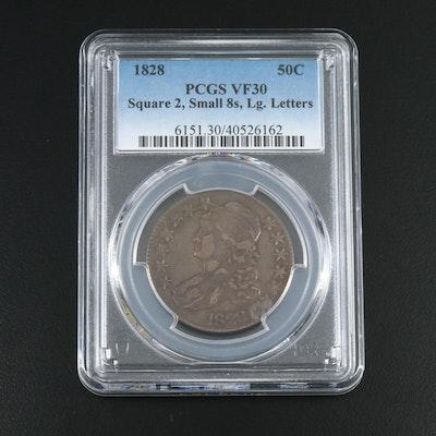 "PCGS Graded VF30 1828 ""Square 2, Small 8s, Lg. Letters"" Silver Half Dollar"