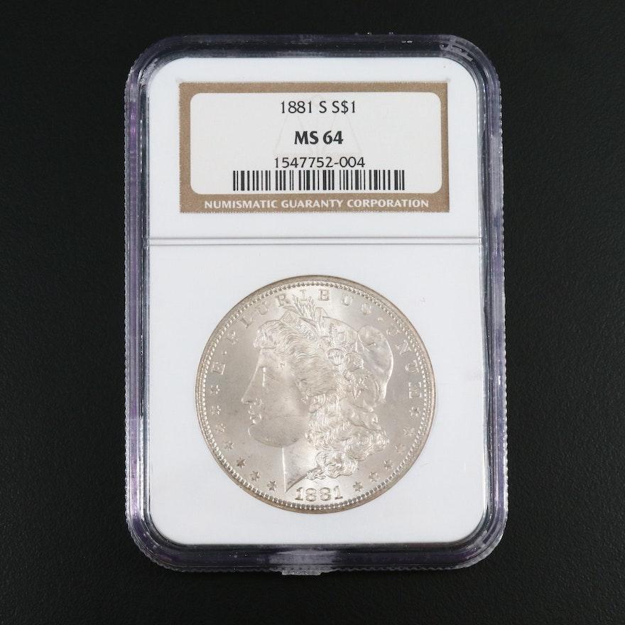 NGC Graded MS64 1881-S Morgan Silver Dollar