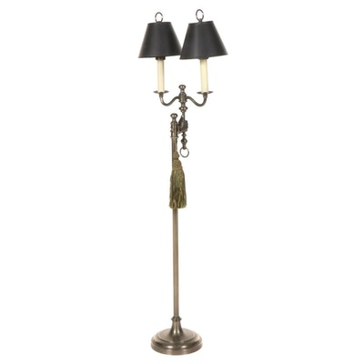 Brushed Metal Double Arm Floor Lamp with Hand Motif and Tassel