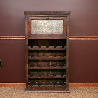Mahogany-Stained Wood and Metal Panel Fall-Front Wine Cabinet