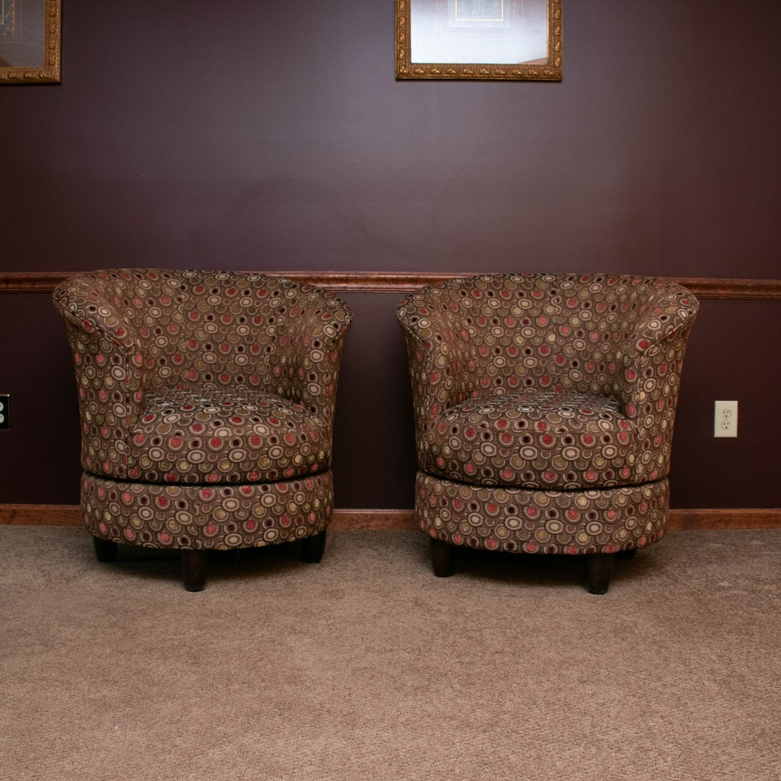 Pair of Best Chairs Inc. Upholstered Swivel Barrel Chairs