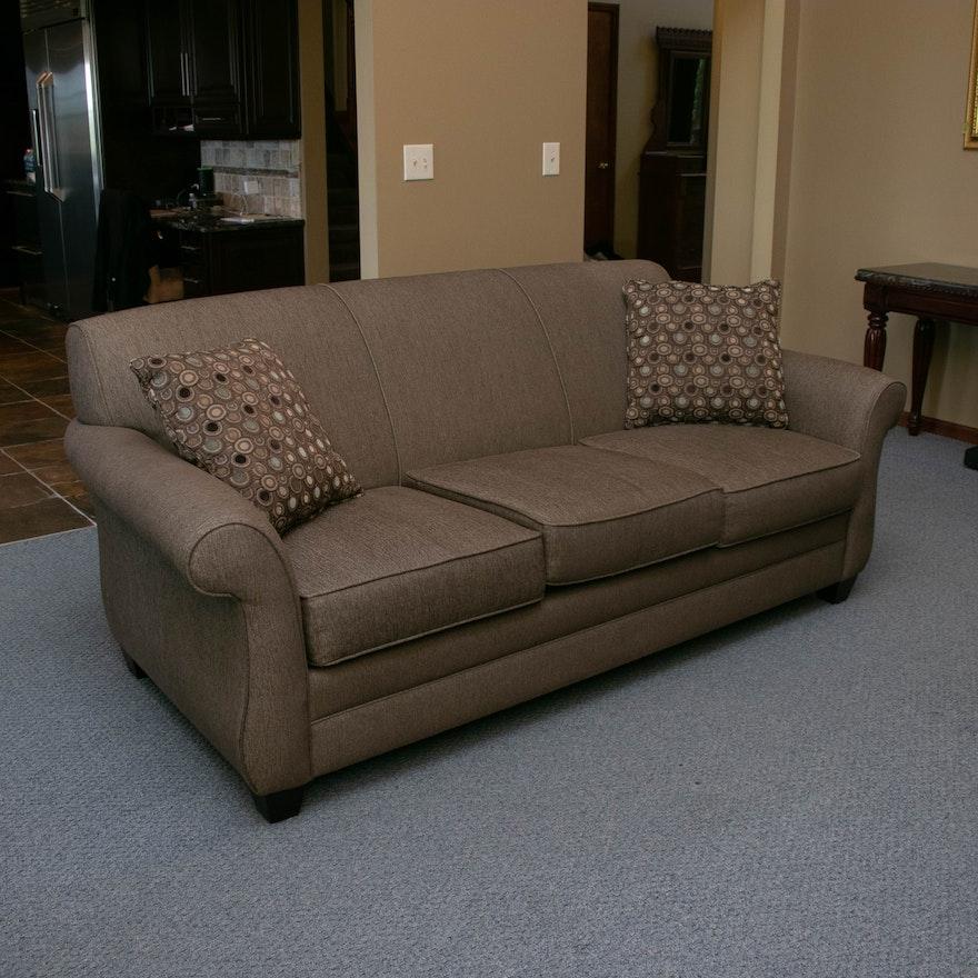 Broyhill Brown Tweed Upholstered Three-Seat Sofa