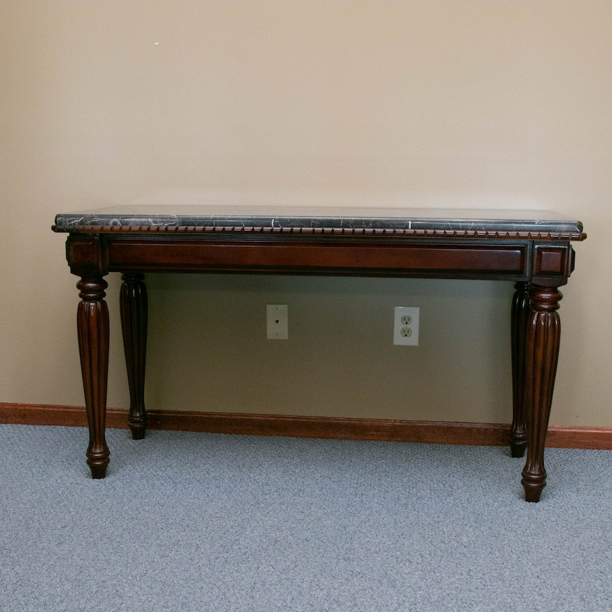 Mahogany-Stained and Tessellated Marble Top Console Table
