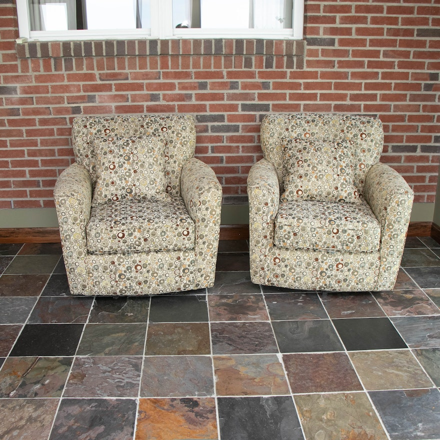 Pair of Best Chairs Inc. Swivel Club Chairs