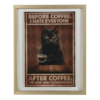 Contemporary Giclée of Black Cat Drinking Coffee, 21st Century