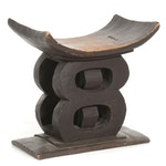 African Asante Carved Hardwood Stool, Mid to Late 20th Century