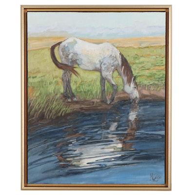 "Monica Cascio Oil Painting ""Cool Drink,"" 2021"